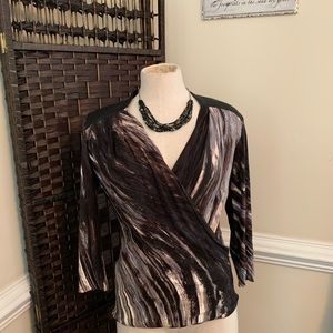 Nic + Zoe Wrap Top w/Faux Leather Accents Sz XS